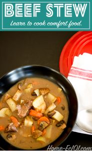 Learn to make beef stew, a perfect meal for chilly evenings or whenever you need comfort food. Stretch the meal by serving it over rice.