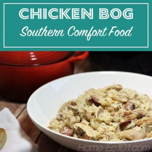 Chicken Bog is a dish from the Peedee Region of South Carolina. It's chicken, sausage, and rice simmered together. It's comfort food that can feed a crowd, is freezer friendly, and a perfect meal to share with new parents or someone who could just use a warm meal.