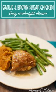 This recipe for garlic and brown sugar chicken is a family favorite. The chicken recipe is simple enough for a weeknight and makes a budget-friendly meal.