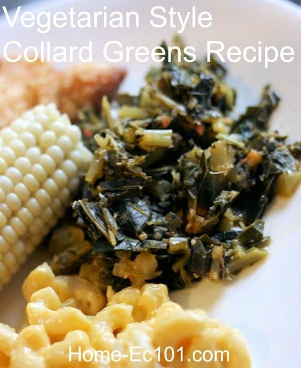 Vegetarian Collards Recipe - These have a kick! They are peppery and wonderful, something I never thought would be possible without sausage or bacon, but as of last night I know it can be done.
