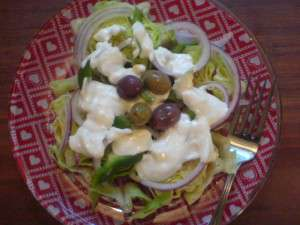 Simple Blue Cheese Dressing - finished salad