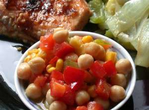 Bean and Corn Salad - made with garbanzo beans (chickpeas)