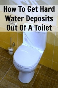 Hard Water Deposits in a Toilet Bowl