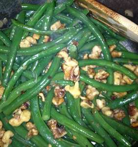 Butter Toasted Walnut Green Beans - top with walnuts