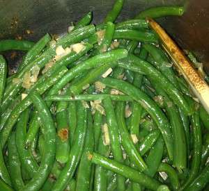 Butter Toasted Walnut Green Beans - toss with sauce