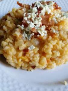 Sweet Potato Risotto with Bacon and Blue Cheese