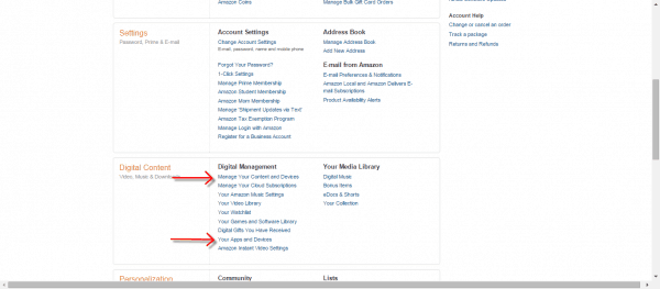 Amazon manage devices